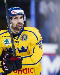 Daniel Rahimi under ishockeymatchen i Karjala Cup mellan Finland och Sverige. Foto: Johanna Lundberg / BILDBYRÅN