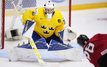 Linus Sšöderströšm under ishockeymatchen i junior-VM. Foto: Joel Marklund / BILDBYRÅN