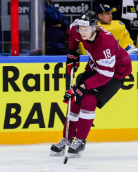 Lettlands Rodrigo Abols  under ishockeymatchen i Ishockey-VM mellan Sverige och Lettland den 6 maj 2016 i Moskva. Foto: Ludvig Thunman / BILDBYRÅN